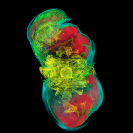 3D volume rendering of the entropy distribution in a magnetorotational supernova
