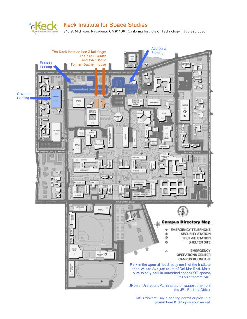 Map of Keck center and surrounding buildings
